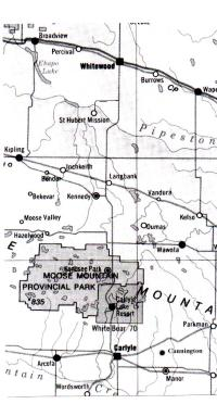Carte de la région de Whitewood