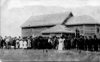 La première église de la paroisse Notre-Dame de Lourdes à Meyronne