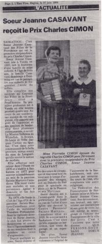 Soeur Jeanne Casavant était choisie première récipiendaire du Prix Charles Cimon